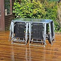 Garden Mile 8 Piece jardín y Patio Juego Exterior Comedor Juego – 6 Asientos Exterior Muebles de jardín con cristal Parte Superior Mesa with 6 plegable sillas y Paraguas Parasol para terraza
