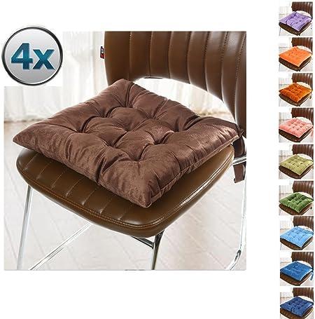 4 Cómodos Cojines Para Silla,Worsendy Cojines Para Silla,,cojines de terraza,cocina de jardín Cojines de silla de comedor 40x40 cm Crema Cena silla Pad (Marrón): Amazon.es: Hogar
