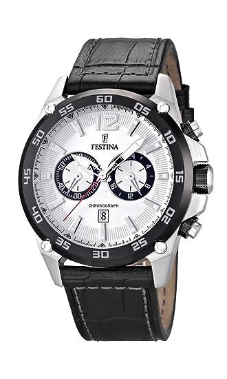 Festina F16673/1 - Reloj cronógrafo de Cuarzo para Hombre con Correa de Piel, Color Negro: Amazon.es: Relojes