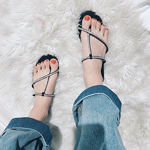 GAOLIM Zapatillas De Mujer Cool Verano Salvaje, Use Un Fondo Blando Plana Seaside Beach Zapatillas Ranurados Hembra Negro