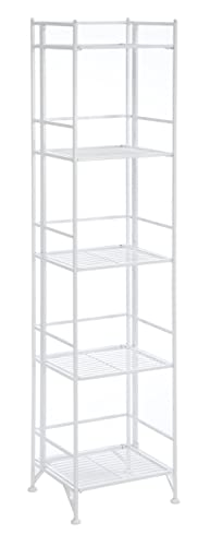 Convenience Concepts Designs2Go X-Tra Storage 5-Tier Folding Metal Shelf, White