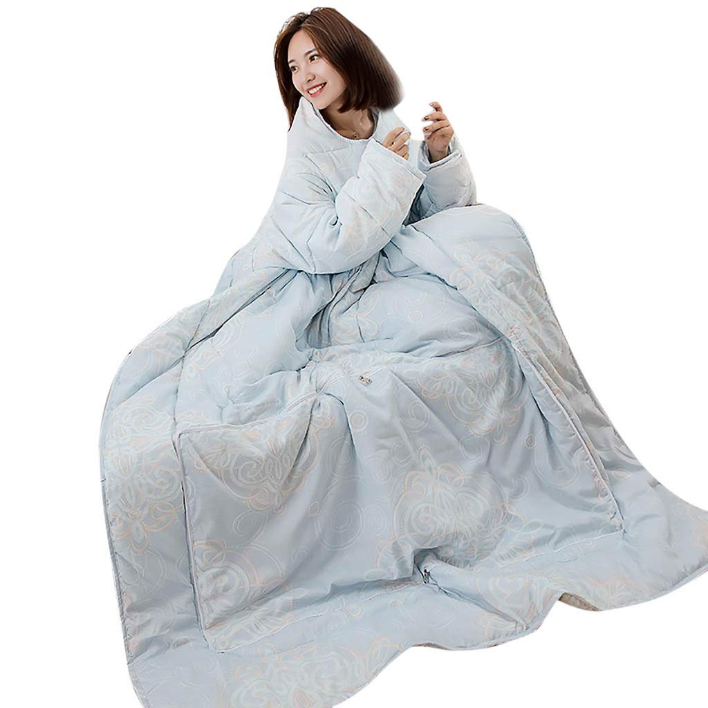 FTXJ Multifunction Winter Lazy Quilt with Sleeves Warm Thickened Washed Pillow Blanke