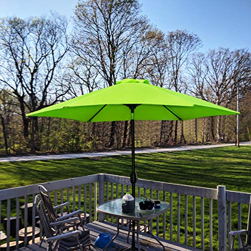 FRUITEAM 7.5' Patio Umbrella, Outdoor Table Market Umbrella with Easy Push Button Tilt/Crank, 6 Ribs, UPF50+ Thick Polyster Porch Umbrella Lime Green ()