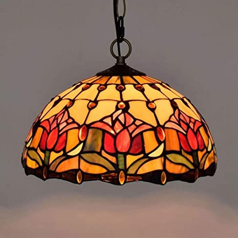 Chandelier,Tiffany Style Tulip Vintage Stained Glass Pendant Lamps, E27  Modern Iron Chain Light - Chandelier, Tiffany Style Tulip Vintage Stained Glass Pendant Lamps