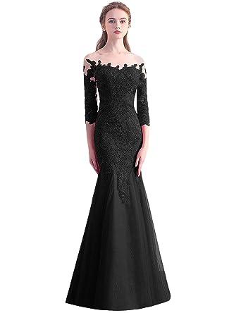 OYISHA Womens 3/4 Sleeve Mermaid Prom Dress Appliqued Wedding Evening Gown EV111 Black 2