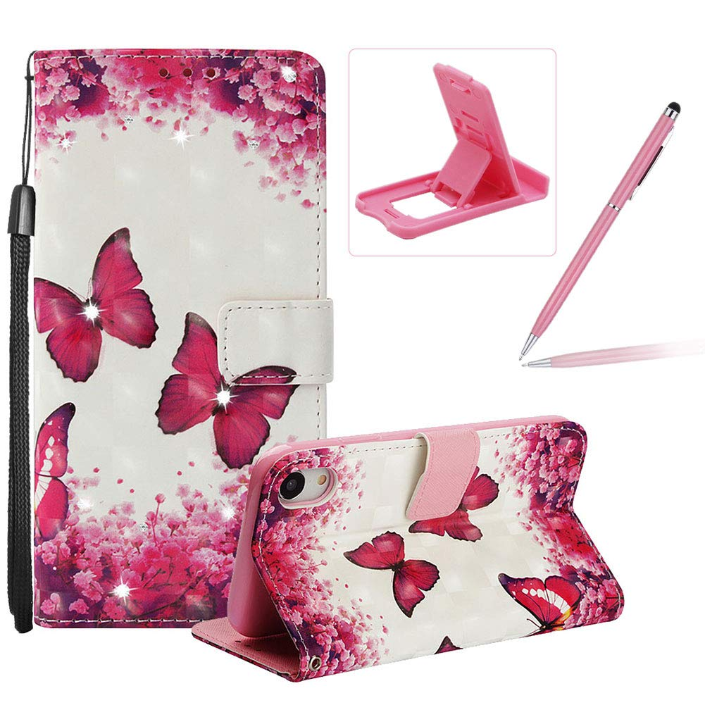 Strap Leather Case for iPhone XS/iPhone X, Wallet Stand Flip Case for iPhone XS/iPhone X, Herzzer Bookstyle Stylish Pretty 3D Butterflies Flower Pattern Magnetic PU Leather with Soft Silicone Inner Back Case for iPhone XS/iPhone X