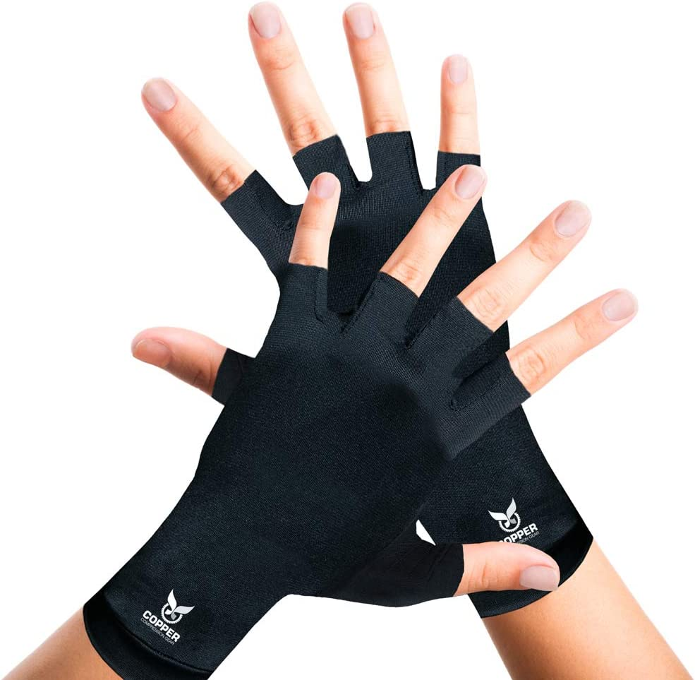 Arthritis Gloves for Women and Men by Copper Compression Hand Gear - Guaranteed to Speed Up Recovery + Relieve Symptoms of Carpal Tunnel Syndrome, Arthritis, RSI, Tendonitis + More. (Pair of Gloves): Health & Personal Care