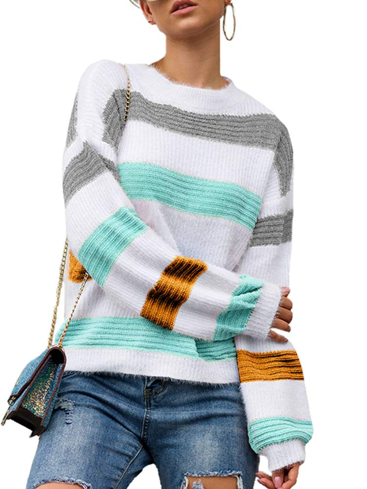 Leepus Women Knitted Sweater Pullover Splice Color Block Long Sleeves O-Neck Knitting Top Oversized Sweater Yellow by Leepus