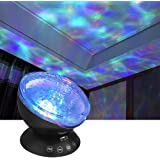 Wave Night Light Projector with Music Player LED Color Changing Projection Lamp Relaxing Sleep Soother Mood Lighting for Living Room Bedroom Gift for Teens Kids Birthday Christmas