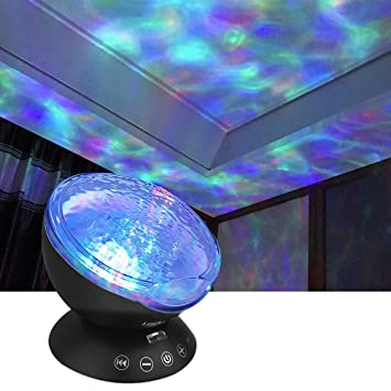 Wave Night Light Projector With Music Player Led Color Changing Projection Lamp Relaxing Sleep Soother Mood Lighting For Living Room Bedroom Gift For
