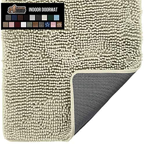 Gorilla Grip Original Indoor Durable Chenille Doormat, 30x20, Absorbent Washable Inside Mats, Low-Profile Rug Doormats for Entry, Mud Room Mat, Back Door, High Traffic Areas, Golden Sand