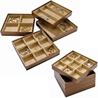 Stock Your Home Stackable Jewelry Organizer Trays for Jewelry Showcase Display & Jewelry Storage Holder for Earrings, Bracelets, Necklaces & Rings