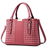 weitine PU Crossbody Bags Satchel Handbags Tote Purse (Pink) for Women with Geometric Pattern Embroidery for IPAD 9.7'