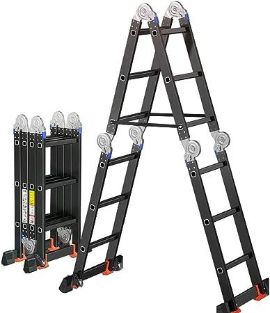 LJSJT 3.6M Escalera Plegable de Aluminio Función de Andamios Escalera Multiusos Almacenamiento Conveniente Peso del rodamiento 150kg Adecuado para el Trabajo a Domicilio. (Size : 3.6m): Amazon.es: Hogar