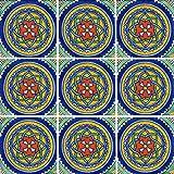 """Color y Tradicion 9 Mexican Tiles 4"""" x 4"""" Hand Painted Talavera C119"""