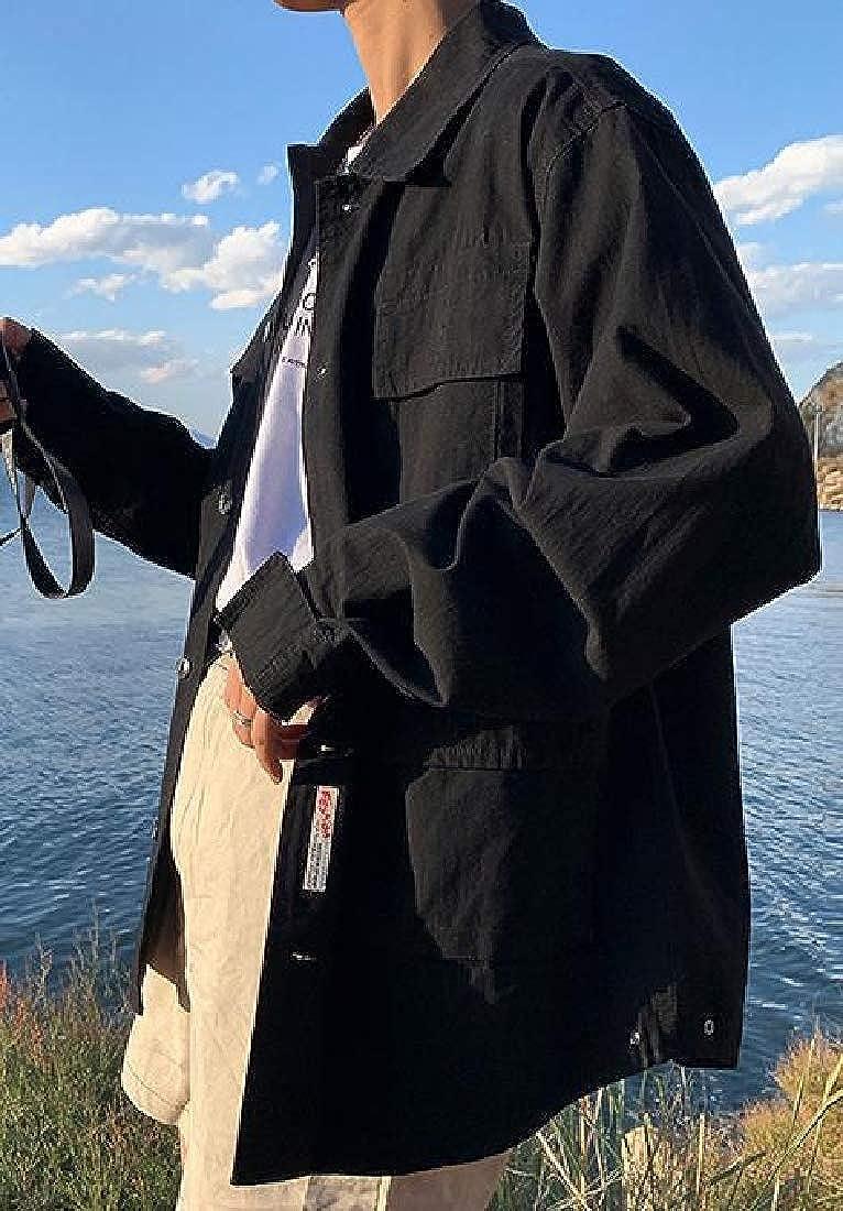 Cromoncent Men Lapel Neck Multi Pocket Casual Cargo Plus Size Button Down Shirts
