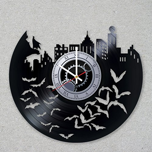 [Contemporary modern justice vinyl record wall clock bat comics dark movie home room kitchen decor unique gift ideas for him her boys] (Frank Miller Batman Costume)