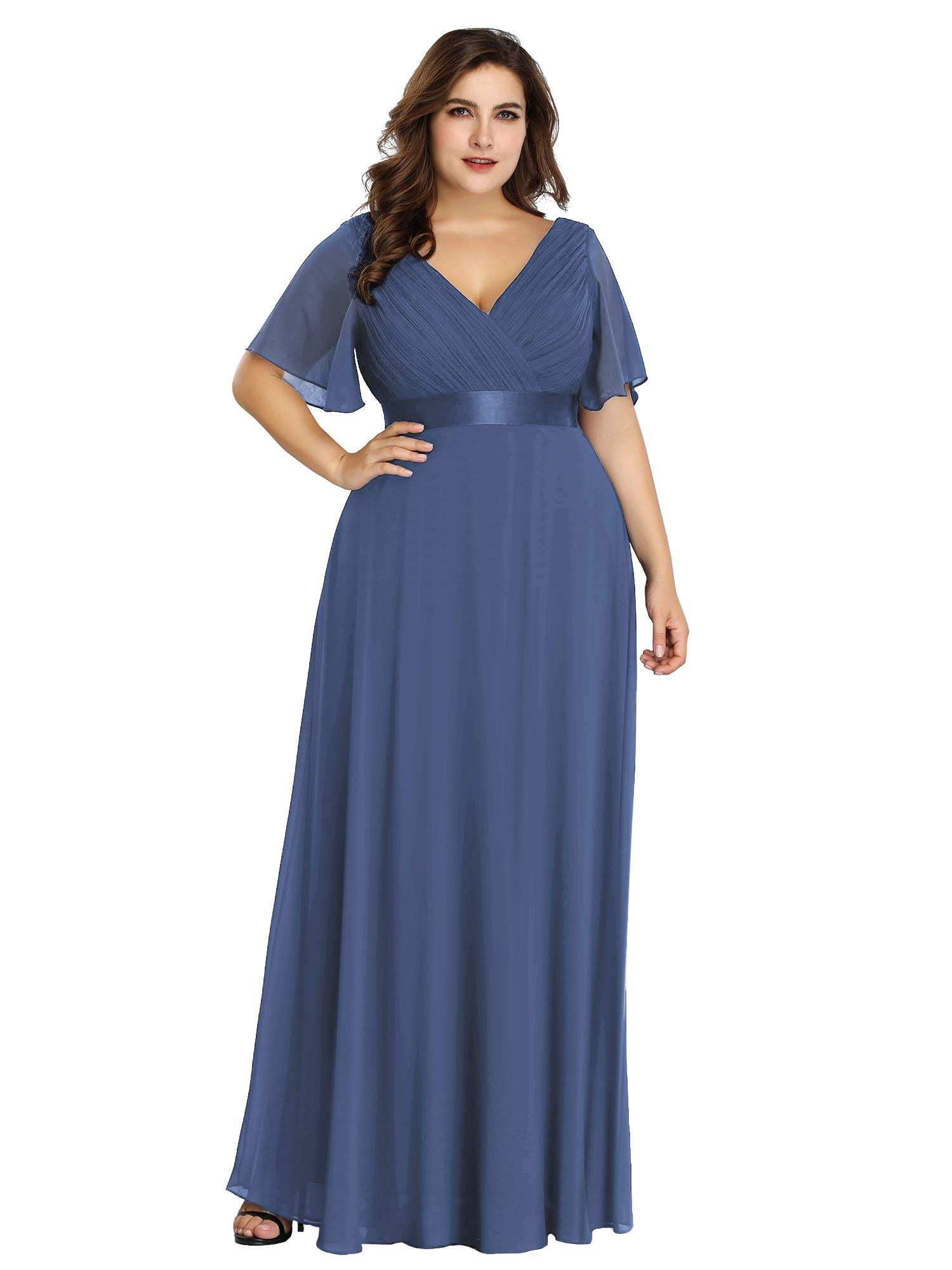 Alisapan Womens A-Line Bridesmaid Dress Plus Size Formal Evening Dresses  Dusty Blue US20