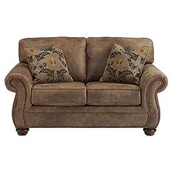 Ashley Furniture Signature Design - Larkinhurst Traditional Loveseat - Faux Weathered Leather Sofa - Earth