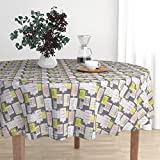 Roostery Round Tablecloth - New York Brownstones Home Architecture Fire Escape Sex And The City Illustration by Littlesmilemakers - Cotton Sateen Tablecloth 70in