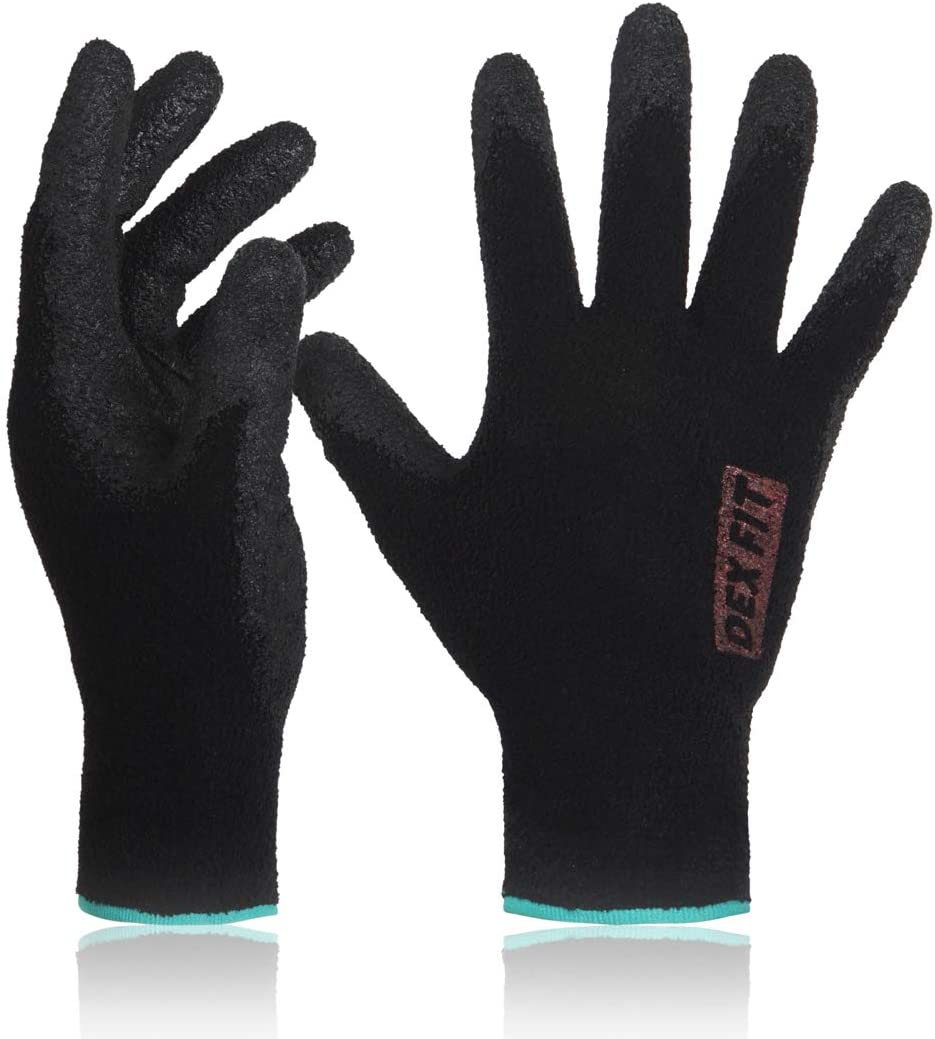 DEX FIT Warm Fleece Work Gloves NR450, Comfort Spandex Stretch Fit, Power Grip, Lightweight & Thin, Durable Water Based Nitrile Rubber Coating, Machine Washable, Black Large 3 Pairs