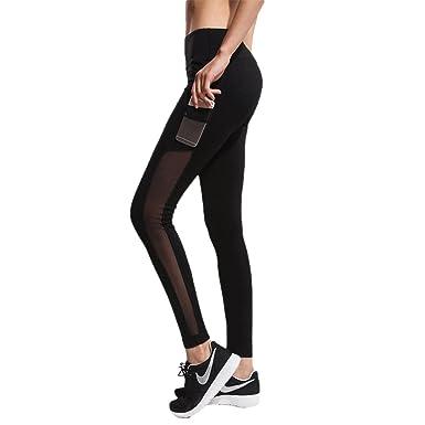 AIYIHAN Femme Leggings Yoga Pants Sport Patalon Taille Haute avec Poche  Noir L 0d700dff6ba