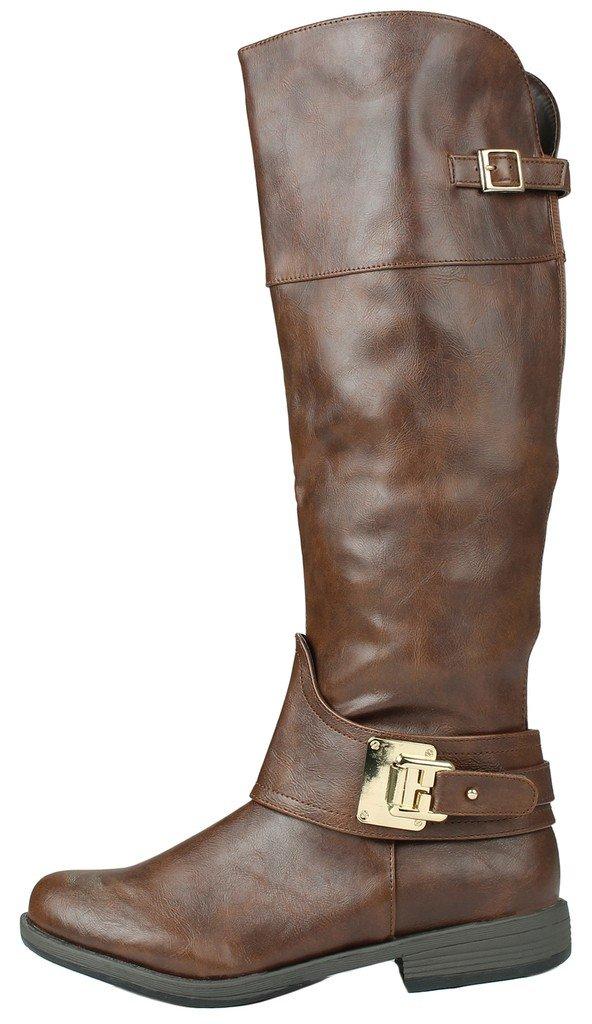 5393d87ce Las mujeres de imitación de cuero de piel forrada de hebilla de oro con  cremallera hasta la rodilla ecuestre botas de montar de motos marrón