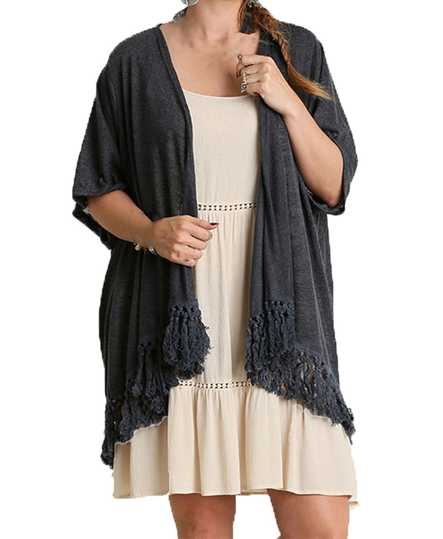 Umgee USA Womens Plus Size Short Sleeve Fringe Cardigan