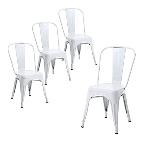 Awe Inspiring Buschman Set Of Four Matte White Metal Indoor Outdoor Stackable Chairs With Back Gmtry Best Dining Table And Chair Ideas Images Gmtryco
