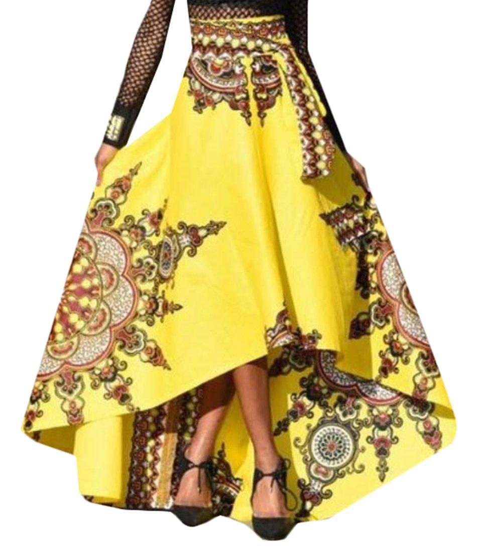 WSPLYSPJY Women African Floral Print Dashiki Summer A Line Maxi Skirts Yellow L