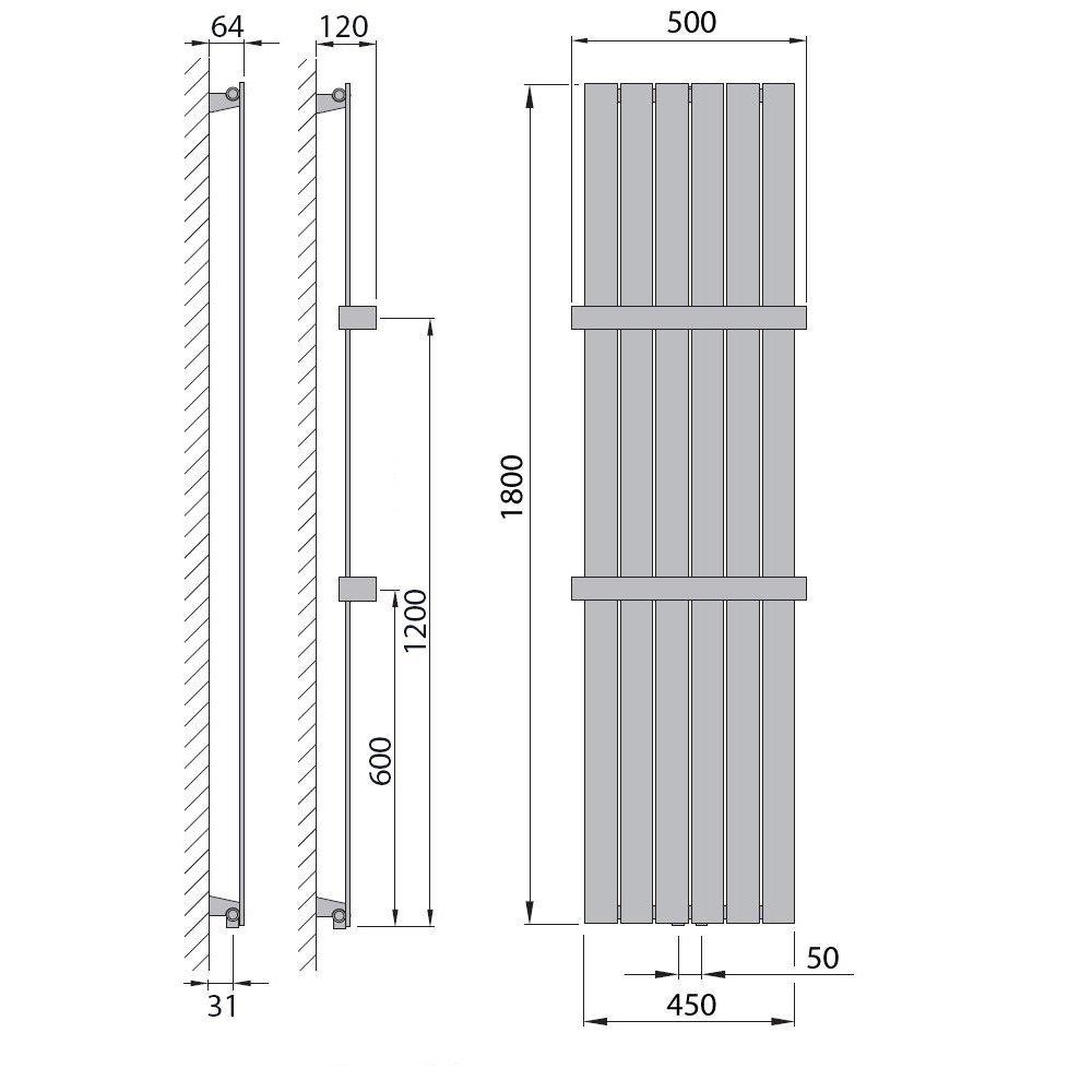 1500 x 450, Wei/ß 686 Watt nach EN442 Design Paneelheizk/örper Heizk/örper Badheizk/örper mit Mittelanschluss und 2 Handtuchstangen Edelstahl alle Gr/ö/ßen