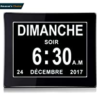 Dayclox international Horloge Calendrier avec Date, Jour et Heure   Horloge Alzheimer   Horloge pour Les Seniors