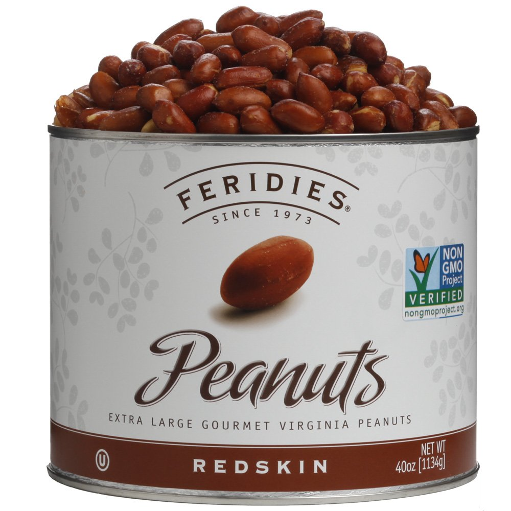 FERIDIES Super Extra Large Redskin Virginia Peanuts 40oz Tin NonGMO, Kosher