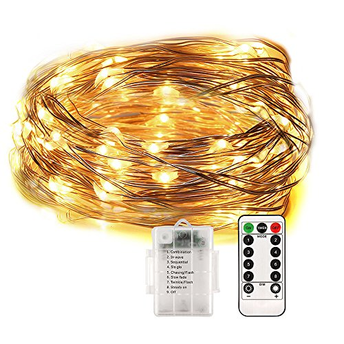33 FT Fairy Lights Battery Operated Fairy String Lights Waterproof 8 Modes 100 LED String Lights Indoor Outdoor String Lights Copper Wire Firefly Lights Remote Contro( Warm White ) (100 Fireflies)