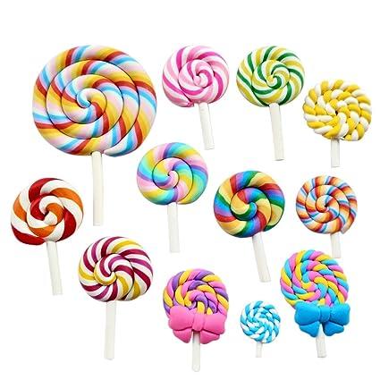 Amazon Com Chenkou Craft Random 12pcs Slime Charm Lollipop Resin