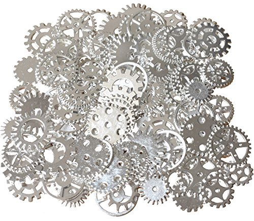 Price comparison product image 200 Gram Assorted Vintage Metal Steampunk Watch Gears Cogs Charms Pendant for Crafting DIY Necklace Pendant Jewelry Making (Silver Color)