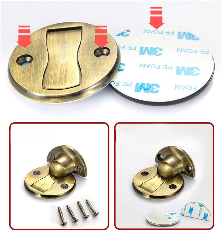 Home Office Protective Door Holder with Dual Sided 3M Adhesives and Conceal Screws Mount No Drill Powerful Free Punch Magnetic Metal Door Stopper Magnetic Doorstop Oval Stopper Green Bronze