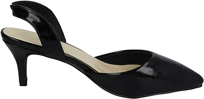 Details about  //'Ladies Spot On/' Pointed Kitten Heel F9R0057