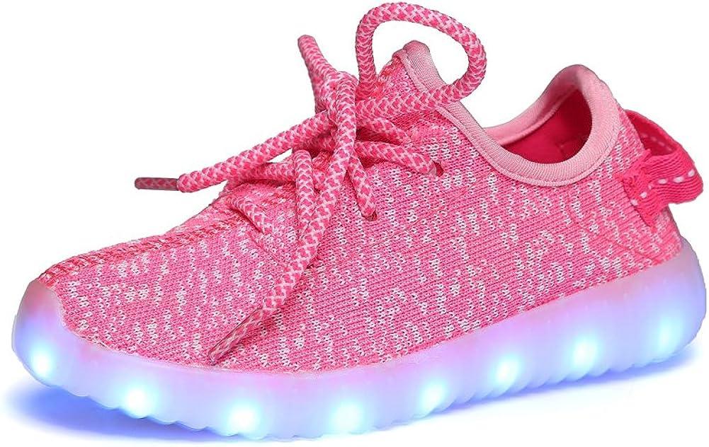 iBaste Niños Zapatos de Moda Zapatos Casuales Zapatos de Coco Luminosos LED Recargable Colores Rosa Talla 25: Amazon.es: Ropa y accesorios