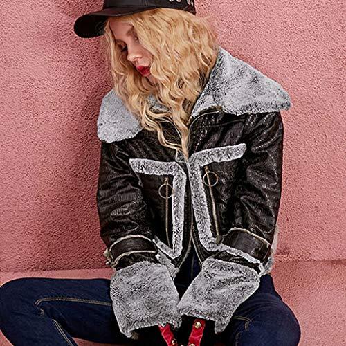 Caldo Cappotti Invernale Pelliccia Xxl Sintetica Black Retrò Size Bavero color In Giacca Peluche Corta Black Nera a4w4qr5