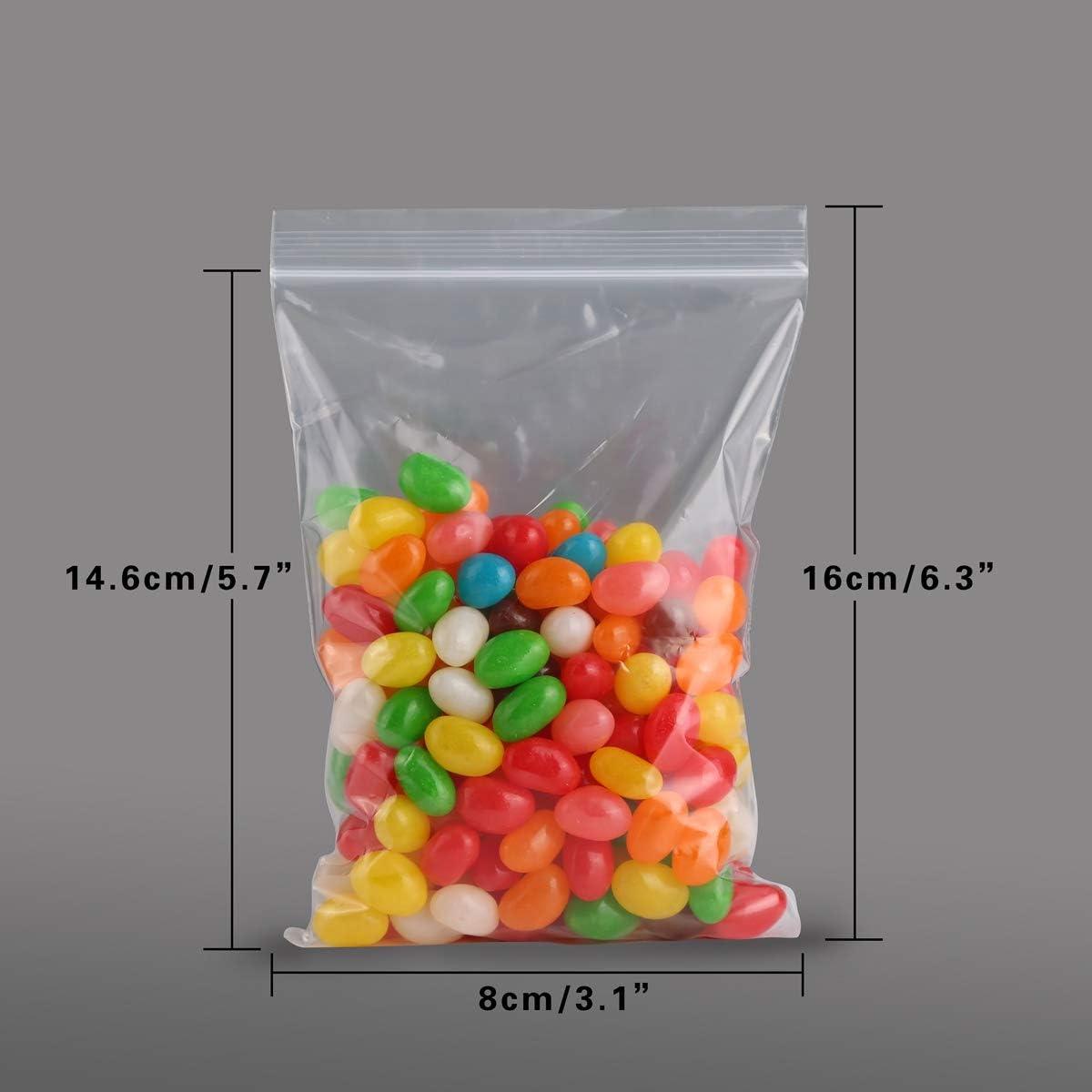 9cube richiudibili con chiusura a zip 4cm x 6cm in polietilene 100 sacchetti in plastica trasparente Trasparente sacchetti sigillati di ottima qualit/à
