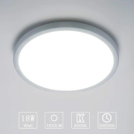 LED Lámpara de Techo Moderna 18W Plafón Led Redonda Ultra Delgado Downlight Blanco Frío 6000K 1620LM adecuada para Cocina Balcón Dormitorio Corredor ...
