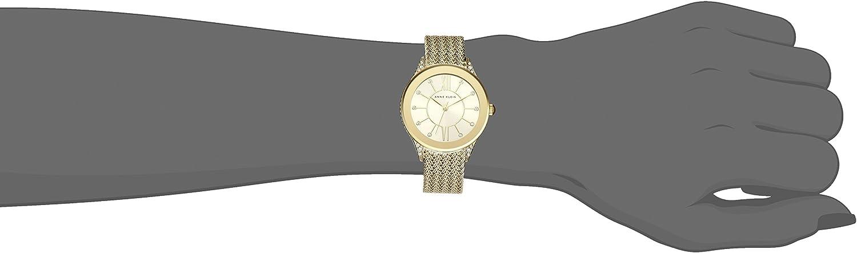 Anne Klein Women's Swarovski Crystal Accented Mesh Bracelet Watch Gold