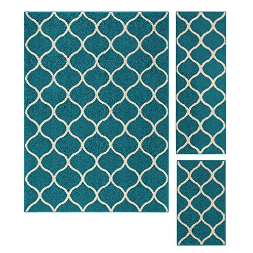 Maples Rugs Area Rugs Sets - Rebecca [3pc Set] Non Slip Large Carpet Runner Rug [Made in USA] for Living Room and Kitchen, Rugs Set, Teal/Sand