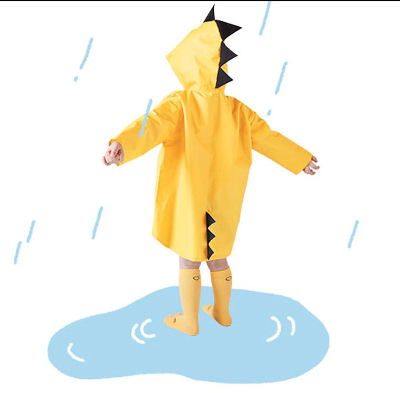 Taiduosheng Age 2~6 Kids Outdoor Hooded Button Down Jacket Rain Jacket Yellow Raincoat Cover Long Rainwear with Bag