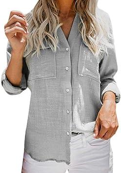 ❤ ️ coloré (TM) Larga Camisa Mujer Mujeres algodón Lino ...
