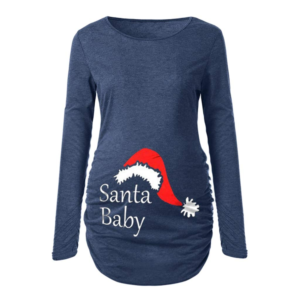 NiSeng Comfortable Christmas Maternity Shirt Casual Pregnancy Tee Santa Baby Maternity Shirt Mom Reindeer Printing Top Xmas Pullover Funny Side Ruched Long Sleeve Elk Print Clothes Jumper