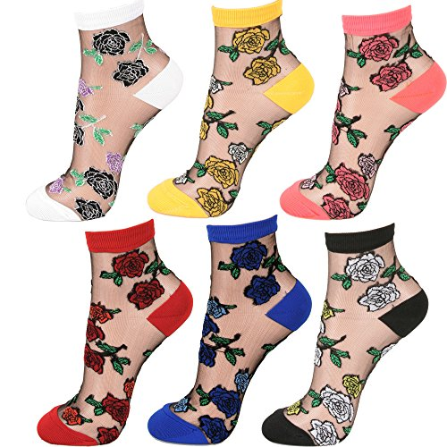 - Women Transparent Ankle High Socks (One Size, Rose - 6Pair)