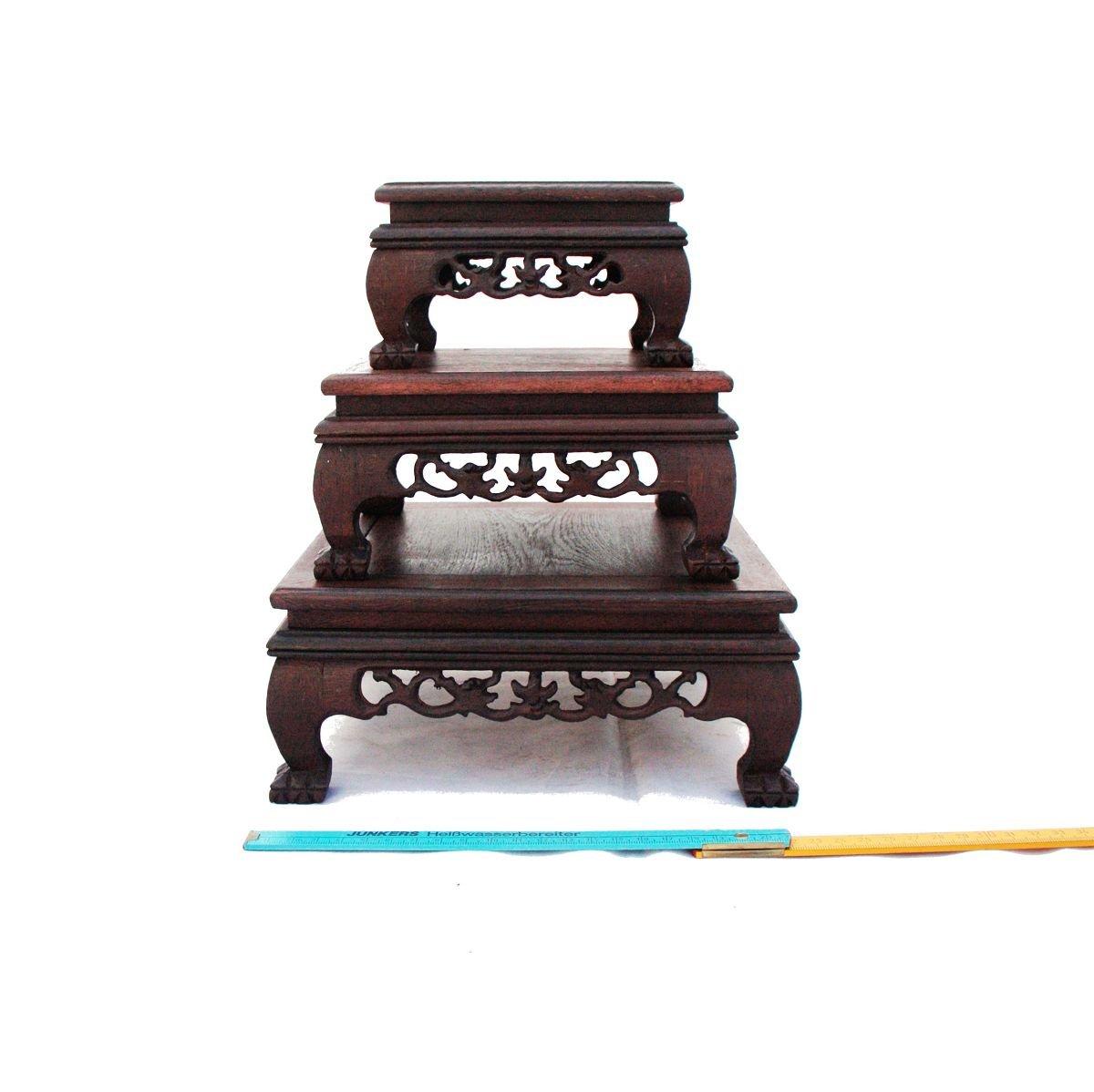 bonsai pr sentations tisch 3er set deko tisch quadratisch g nstig online kaufen. Black Bedroom Furniture Sets. Home Design Ideas