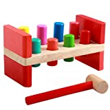 Toyzoo First Pounding Bench Peg Wooden Toy With Mallet Early Educational Games for Toddlers Kids